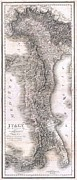 Last Turning Prints - 1814 Rizzi Zannoni Map of Italy Print by Paul Fearn