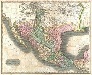 Arkansas Map Framed Prints - 1814 Thomson Map of Mexico and Texas  Framed Print by Paul Fearn