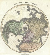 A Map Of The Moon Posters - 1814 Thomson Map of the Northern Hemipshere and Arctic Poster by Paul Fearn