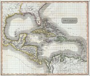 Undersea.  Prints - 1814 Thomson Map of the West Indies and Central America  Print by Paul Fearn