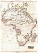 Arab King Posters - 1818 Pinkerton Map of Africa Poster by Paul Fearn