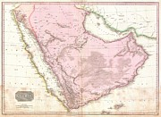 Ill-fated Framed Prints - 1818 Pinkerton Map of Arabia and the Persian Gulf Framed Print by Paul Fearn