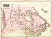River.etc. Prints - 1818 Pinkerton Map of British North America or Canada Print by Paul Fearn