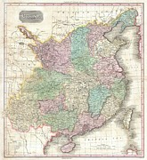 Ly Framed Prints - 1818 Pinkerton Map of China  Framed Print by Paul Fearn
