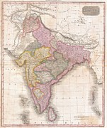 Offers Framed Prints - 1818 Pinkerton Map of India Pakistan Afghanistan Tibet Nepal Sri Lanka Framed Print by Paul Fearn