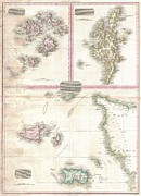 Undersea.  Prints - 1818 Pinkerton Map of Jersey Guernsey Scilly and Shetland British Isles Print by Paul Fearn