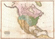 John Pike Art - 1818 Pinkerton Map of North America by Paul Fearn