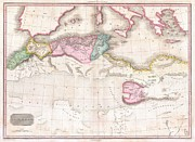 The World Population Prints - 1818 Pinkerton Map of Northern Africa and the Mediterranean Print by Paul Fearn