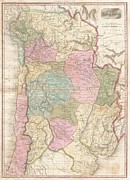 Itself Prints - 1818 Pinkerton Map of of La Plata Southern South America Argentina Chile Bolivia Print by Paul Fearn