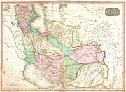 Modern Day Ruins Prints - 1818 Pinkerton Map of Persia  Print by Paul Fearn