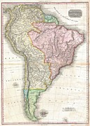 River Flooding Posters - 1818 Pinkerton Map of South America Poster by Paul Fearn