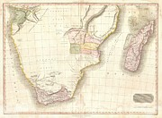 Inflamed Wall Prints - 1818 Pinkerton Map of Southern Africa Print by Paul Fearn