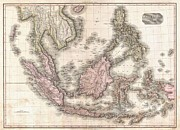 River.etc. Prints - 1818 Pinkerton Map of the East Indies and Southeast Asia Print by Paul Fearn
