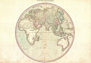 A Map Of The Moon Posters - 1818 Pinkerton Map of the Eastern Hemisphere  Poster by Paul Fearn