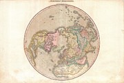 A Map Of The Moon Posters - 1818 Pinkerton Map of the Northern Hemisphere  Poster by Paul Fearn