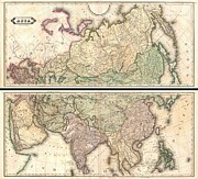 Large Format Art - 1820 Lizars Wall Map of Asia by Paul Fearn