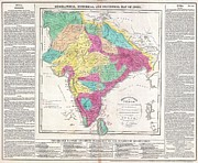 Genealogical Framed Prints - 1821 Carey Map of India  Framed Print by Paul Fearn
