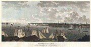 Boats In Harbor Prints - 1824 Klinkowstrom View of New York City from Brooklyn  Print by Paul Fearn