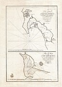 Undersea.  Prints - 1825 Victoria Map of San Diego California and San Blas Mexico  Print by Paul Fearn