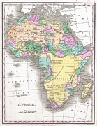A Map Of The Moon Posters - 1827 Finley Map of Africa Poster by Paul Fearn
