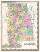 Just Right For; Posters - 1827 Finley Map of Alabama Poster by Paul Fearn
