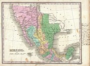Incarnation Photo Framed Prints - 1827 Finley Map of Mexico Upper California and Texas Framed Print by Paul Fearn