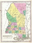 Travel Agency Posters - 1827 Finley Map of Mississippi Poster by Paul Fearn