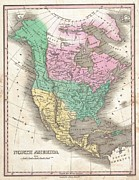 U.s On The Continent Of America Framed Prints - 1827 Finley Map of North America Framed Print by Paul Fearn