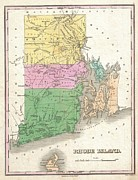 Rhode Island  State Map Framed Prints - 1827 Finley Map of Rhode Island Framed Print by Paul Fearn