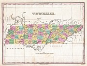 Northwestern Indian Prints - 1827 Finley Map of Tennessee Print by Paul Fearn