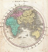 Owner Posters - 1827 Finley Map of the Eastern Hemisphere  Poster by Paul Fearn