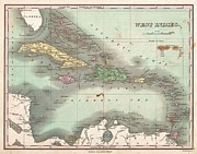 Cat Map Framed Prints - 1827 Finley Map of the West Indies Caribbean and Antilles Framed Print by Paul Fearn
