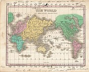 Just Right For; Posters - 1827 Finley Map of the World Poster by Paul Fearn