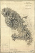 Nautical Chart Posters - 1831 Depot de la Marine Nautical Chart or Map of Martinique West Indies Poster by Paul Fearn