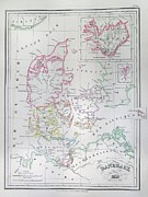 1833 Photos - 1833 Malte Brun Map of Denmark  Iceland and Faeroe Islands  by Paul Fearn
