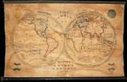 Rhode Island Map Prints - 1833 School Girl Manuscript Wall Map of the World on Hemisphere Projection  Print by Paul Fearn