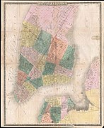 Map Of The Hand Posters - 1835 David Burr Map of New York City Poster by Paul Fearn
