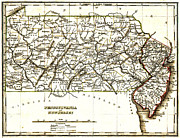 New Jersey Drawings - 1835 Pennsylvania and New Jersey Map by Bradford