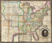 Just Right For; Posters - 1835 Webster Map of the United States Poster by Paul Fearn