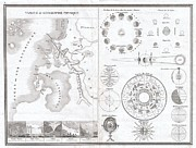 The Plateaus Photos - 1838 Monin Map or Physical Tableau and Astronomy Chart  by Paul Fearn