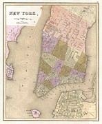 Public Issue Prints - 1839 Bradford Map of New York City Print by Paul Fearn
