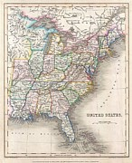 Arkansas Map Framed Prints - 1843 Gilbert Map of the United States Framed Print by Paul Fearn