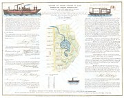 Pond In Park Prints - 1846 Broadside of the Collect Pond New York and Steam Boat  Five Points   Print by Paul Fearn