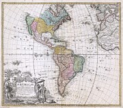 To Dominate Prints - 1846 Homann Heirs Map of North America and South America  Print by Paul Fearn