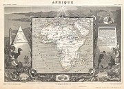African Kingdoms Prints - 1847 Levasseur Map of Africa Print by Paul Fearn