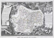 Beaujolais Photo Prints - 1847 Levasseur Map of Saone et Loire France Print by Paul Fearn