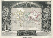 Map Of The Hand Posters - 1847 Levasseur Map of the World Poster by Paul Fearn