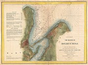 The World Population Prints - 1847 US Coast Survey Map of Holmes Hole Vineyard Haven Marthas Vineyard Massachusetts Print by Paul Fearn