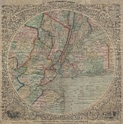 M Court Prints - 1848 Colton Map of New York City and Vicinity Print by Paul Fearn