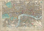 London City Map Framed Prints - 1848 Crutchley Pocket Map or Plan of London Framed Print by Paul Fearn